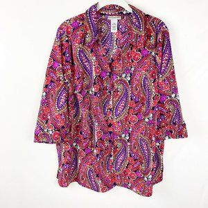 Catherines Button Down Blouse Size 0X 14/16 Floral